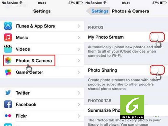 ... Settings -> Photo & Camera và tắt bỏ tính năng Photo Stream để hình ảnh  trên iPhone không tự động đồng bộ với các thiết bị khác đang dùng chung  iCloud.