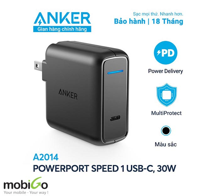 sạc nhanh Anker USB C 30W with Power Delivery Charger