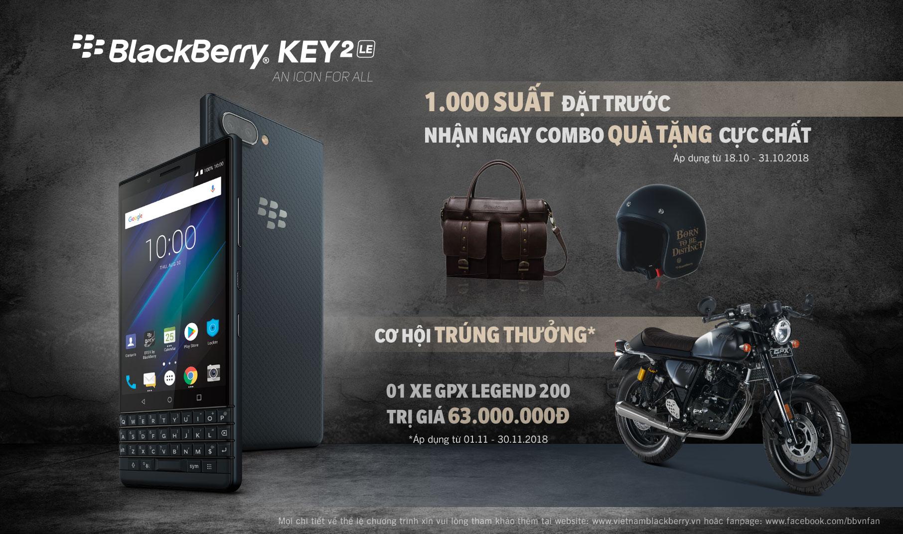 [hot] đặt mua blackberry key2 le chính hãng tại mobigo: cơ hội trúng xe gpx legend 63 triệu đồng